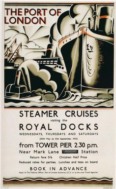 The Port of London Poster. Steamer Cruises, 1934  | Flickr by  npgraphicdesign