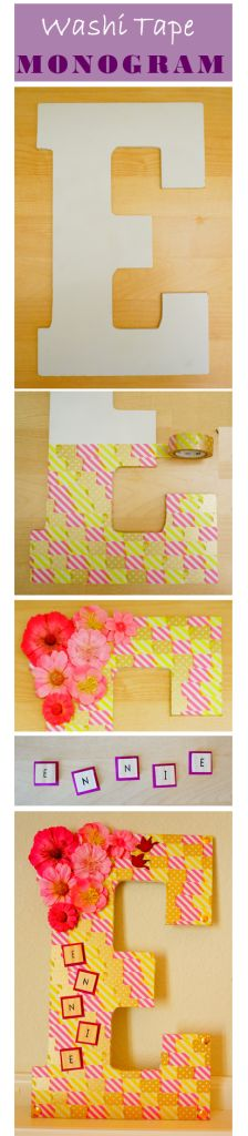 New Year, New Decor! Try this elegant washi-tape monogram. Done in under 1 hour. Washi Tape Crafts, Dyi Crafts, Diy Craft Projects, Decor Crafts, Paper Mache Letters, Paper Mache Crafts, Diy Monogram, Monogram Letters, Craft Fur