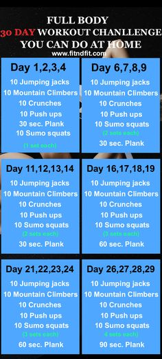 The Full Body 30 Day Workout Challenge You Can Do at Home #fitness #bodybuilding #weightloss