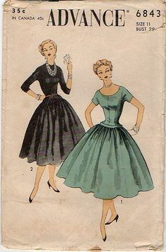 Vintage 1950s Dress Pattern ~ Full Skirt ~ Dropped Waist ~ Rounded Scoop or High Neckline ~ Bust 29 ~  Advance 6843 by VivsVintageSewShop on Etsy