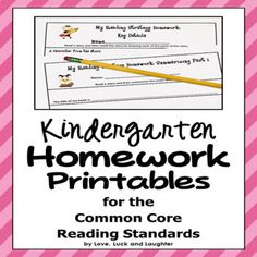 Common Core Reading Standards, Common Core Ela, Reading Response, No Response, Writing Activities, Teaching Resources, Kindergarten Homework, Any Book, First Grade