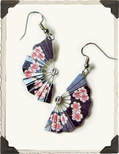 FAN DANGLES CHERRY BLOSSOM EARRINGS -- Derived from a painting by great Japanese landscape artist, Utagawa Hiroshige (1797-1858), silver plated fans are graced by the delicate pink blooms that flurry in April.