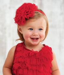 Beautiful headband with a red mesh and chiffon rosette