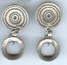 earrings spiral tops with doughnut drop - ethnic jewels