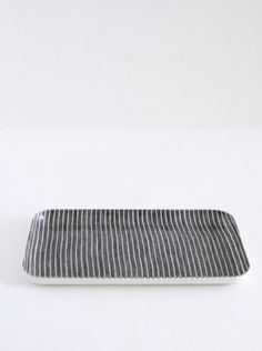 SUPPLY PAPER CO. | coated linen tray in grey stripe