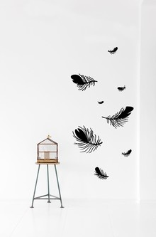 Feather - black wall decal