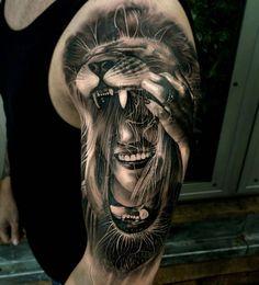 Татуировка, тату, девушка, маска, лев, волосы