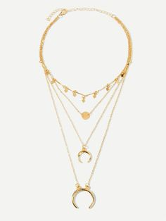 960ab97191 Shein Incomplete Ring Pendant Layered Chain Necklace