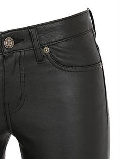 saint laurent - women - leather jackets - low waisted faux leather skinny pants