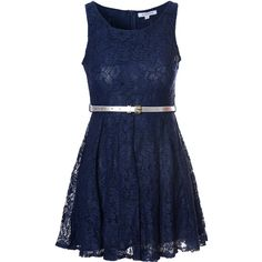 Navy Lace Belted Dress ($19) ❤ liked on Polyvore featuring dresses, day dress, dresses/skirts, navy, blue sleeveless dress, skater dress, belted dress, glamorous dresses and navy blue dress