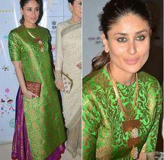 Kareena Kapoor Jacquard Machine Work Green Unstitched Bollywood Designer Suit - 5079 at Rs 1199 Silk Kurti Designs, Blouse Designs, Kareena Kapoor Lehenga, Lehenga Pattern, Jaquard Dress, Suit Pattern, Lehenga Style, Desi Wear, Indian Dresses