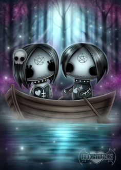 Frightlings: Ebony and Eli Gothling. Emo Art, Goth Art, Halloween Drawings, Halloween Art, Arte Horror, Horror Art, Doll Drawing, Drawing Tips, Doll Tattoo