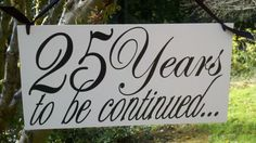25th Anniversary Photo Prop Wood Hand Painted Sign por limitedlane