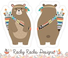Cut and sew tribal woodland bear fabric by rocky_rocks_designs on Spoonflower - custom fabric - Woodland Animal Nursery, Woodland Baby, Woodland Animals, Woodland Fabric, Tribal Bear, Tribal Animals, Embroidered Christmas Ornaments, Baby Boy Quilts, Doodles