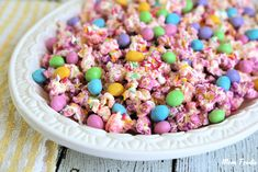 Easter popcorn is a perfect compromise between a sweet and savory snack.  This pastel chocolate popcorn is a fun spring treat kids will love.