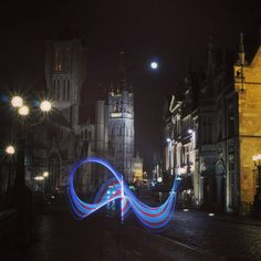 A moon, three towers & some grafitti.  #gent #negenduust #grafittilights #picoftheday #light_junkies #lightpainting #lighttrails #beautiful #cool #amazing #make #longexposure_shots #cityofghent  keep on #programming new stuff with #arduino