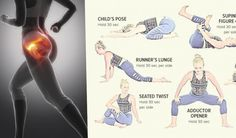 5 Exercises To Relieve Hip Pain And Strengthen Your Hip Flexor - GymGuider.com Hip Strengthening Exercises, Hip Flexor Exercises, Sciatica Exercises, Strengthen Hip Flexors, Strengthen Hips, Back Stretches For Pain, Hip Stretches, Roller Stretches, Hip Workout