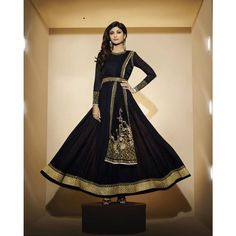 Shilpa Shetty Black Georgette #Anarkali Suits With Dupatta- $103.49