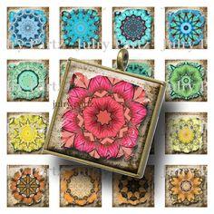 Ancient Chakra Mandalas 1x1 Square Tiles,Printable Digital Image,Digital Collage,Healing Mandalas,Magnets,Scrabble Tiles,Yoga, Meditation
