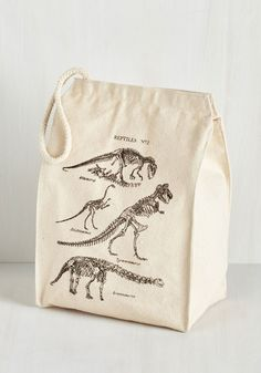 Part of a Balanced Dino Lunch Bag. Pack your lunch with prehistoric panache in this printed canvas bag! #multi #modcloth