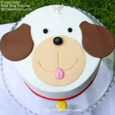 Learn how to make a sweet puppy cake in our free cake decorating tutorial! Puppy Birthday Cakes, Themed Birthday Cakes, Themed Cakes, Happy Birthday, Birthday Wishes, 2nd Birthday, Birthday Parties, Cake Decorating For Beginners, Easy Cake Decorating