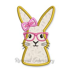 Girl Bunny Rabbit With Glasses Applique Machine Embroidery Design Applique Designs, Machine Embroidery Designs, Bunny Rabbit, Appliques, Pikachu, Fonts, Glasses, Fictional Characters, Art