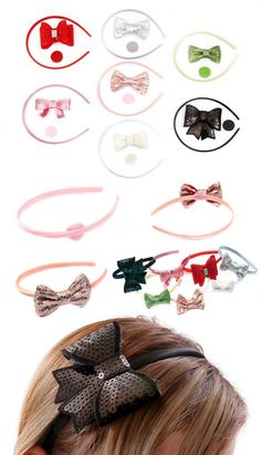 DIY Sparkle Bow Headband Tutorial- learn to make your own glitter or sequin bow headbands for a fraction of the cost of high end boutiques or retail stores~ beautiful hair accessories don't need to be complicated! And bargain headbands can still look amazing!