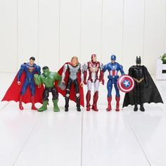 6pcs/set 10cm The Avengers figures super hero toy doll hulk Captain America superman batman thor Iron man