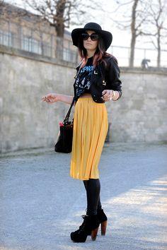 #yellow skirt