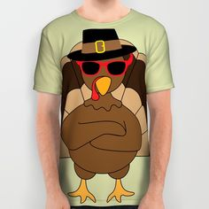 Cool Turkey with sunglasses Happy Thanksgiving All Over Print Shirt by #PLdesign #Thanksgiving #CoolTurkey