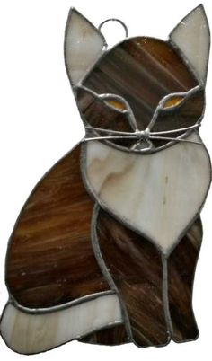 Hand Made Stained Glass Cat Suncatcher