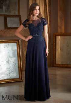 Beaded Lace Appliques on Chiffon Mother of the Bride Dress Designed by Madeline Gardner. Colors available: Latte, Navy