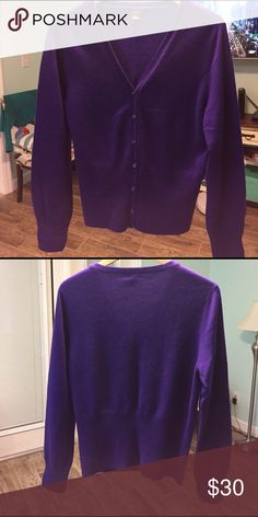 100% Cashmere by Prive in Grape. Cardigan. Like New Sweaters Cardigans