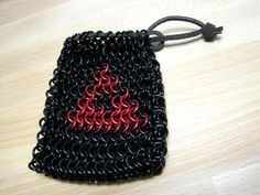 Trifoce Zelda Chainmaille Dice Bag  Evil Black and by MelonLove, $40.00