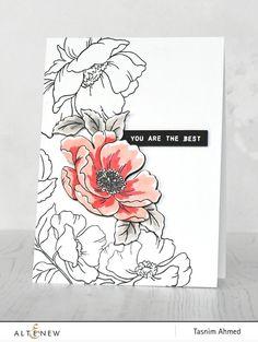 Flower Stamp, Flower Cards, Scrapbook Blog, Scrapbooking, Grey Artist, Altenew Cards, Card Drawing, Stamp Making, Ink Pads