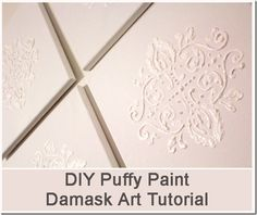 damask wall art with puffy paint. cool