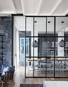 cuisine verrière - bois clair, blanc & bleu #colors #moodboard