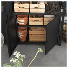 BROR Cabinet with 2 doors, black. Heavy-duty, our way – a sturdy storage system that withstands moisture, dirt and heavy loads. Also easy to assemble, complete as needed and fits everywhere thanks to its clean design. Concrete Bags, Ikea Regal, Hobby Room, Diy Organization, Organizing, Galvanized Steel, Panel Doors, Clean Design, Industrial Furniture