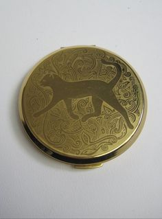 Vintage 1950s Stratton Cat Design Compact Mirror available to buy online at Virtual Vintage Clothing £35