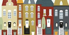 houses illustration houses print houses por Ilustracionymas en Etsy