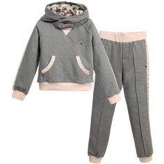 Girls Grey & Pink Floral Tracksuit , Armani, Girl