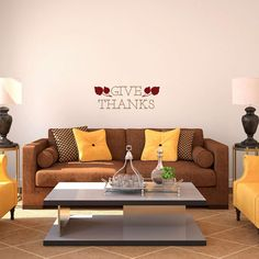 Furniture: Modern Wall Decal Sayings For Living Room Brown Sofa Bed Design  With Yellow Pillows