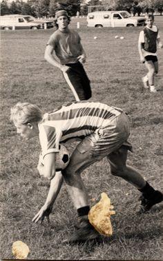Gene Winkelmann playing intramural soccer, 1987.