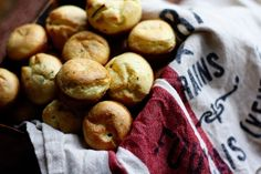 Goat Cheese and Rosemary Mini Popovers - I bet these would be fantastic with a glass of bubbles.