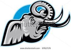 Angry African Elephant Head Retro - stock vector #elephant #retro #illustration