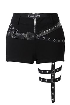 Punk rivet shorts with surround thigh design Punk rive. - Punk rivet shorts with surround thigh design Punk rivet shorts with surro - Teen Fashion Outfits, Stage Outfits, Kpop Outfits, Cosplay Outfits, Edgy Outfits, Mode Outfits, Cute Casual Outfits, Grunge Outfits, Girl Outfits