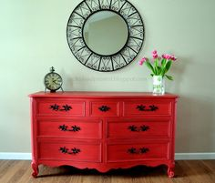 The 36th AVENUE | Colorful Furniture Makeovers - redo my old desk red with a black top and some type of black OR Asian themed drawer pulls.