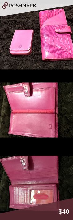 LOT OF TWO ITEMS. COACH CARD CASE & LODIS WALLET You get two of my loved items for one price.  A gently used Coach card case that snaps shut and a LODIS of L.A. wallet.  Both are pink and have been used and loved by me.  Still have plenty of life left in them.  They are not the same shades of pink. Lodis Bags Wallets