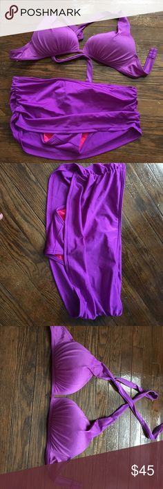 Victoria Secret bikini Victoria Secret bikini. Top is a size large. Bottom is a size medium. Bottom is a skirt. Bright purple color. Worn once. Perfect condition. Victoria's Secret Swim Bikinis
