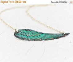 NEW YEAR SALE Christmas Gift / Wing Necklace / Green Patina / Gold Chain / Delicate / Symbolic Jewelry / Inspirational Gift / Take Flight / by amywaltz on Etsy https://www.etsy.com/listing/183356121/new-year-sale-christmas-gift-wing